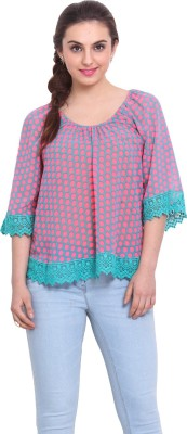 Rena Love Casual 3/4 Sleeve Polka Print Women's Pink Top