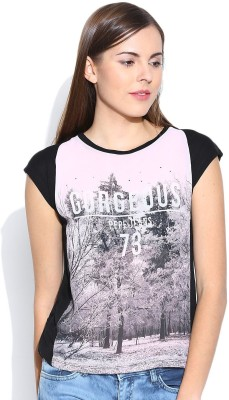 Pepe Jeans Casual Short Sleeve Printed Women's Pink, Black Top
