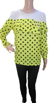 Aaradhya Boutique Party Full Sleeve Polka Print Women,s Yellow Top