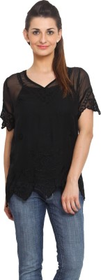 Global Colours Casual Short Sleeve Embroidered Women's Black Top