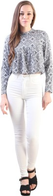 VVINE Party, Casual Full Sleeve Printed Women's White Top