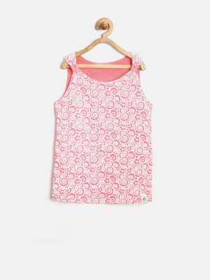Yk Casual Sleeveless Printed Girl's Red, White Top