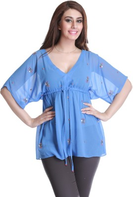 Trendy Divva Casual Short Sleeve Self Design Women,s Blue Top