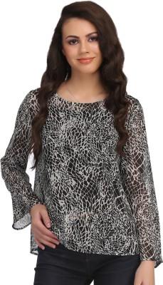Clovia Casual Full Sleeve Animal Print Women's Black Top
