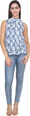 FATEN Casual Sleeveless Printed Women,s Blue Top