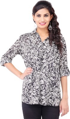 Pear Blossom Casual Roll-up Sleeve Floral Print Women's White Top