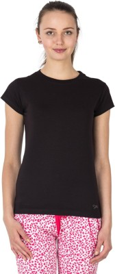 Lovable Casual Short Sleeve Solid Women's Black Top