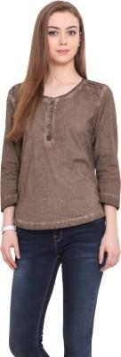 Porsorte Casual 3/4 Sleeve Solid Women's Brown Top