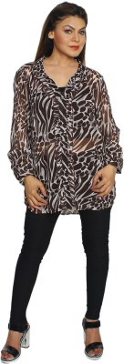 Fayona Casual Full Sleeve Printed Women's Brown Top