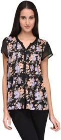 TunicNation Casual Short Sleeve Floral Print Women's Multicolor Top