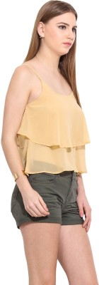 Desi Urban Casual Sleeveless Printed Women's Beige Top