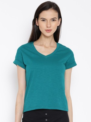 Rat Trap Casual Short Sleeve Solid Women's Green Top