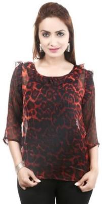 Moda Desire Casual 3/4 Sleeve Printed Women's Multicolor Top