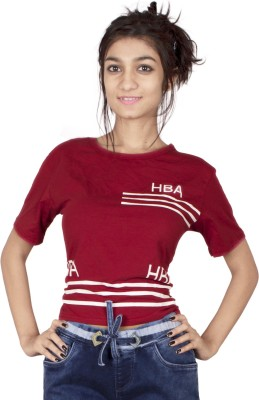 TIMBERLAKE Casual Short Sleeve Solid Women's Red Top