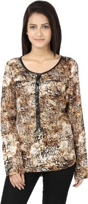 Adhaans Casual Full Sleeve Printed Women's Brown, Black Top