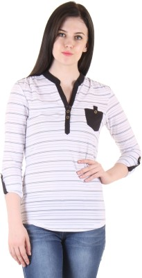 SS Casual Full Sleeve Printed Women's White Top