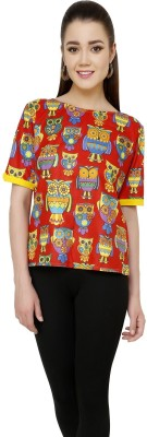Pannkh Casual Short Sleeve Printed Womens Red Top