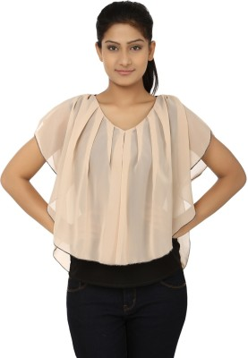 Aussehen Casual Short Sleeve Solid Women's Beige Top
