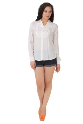 Silk Weavers Casual Full Sleeve Solid Women's White Top