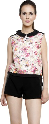 I Am For You Casual Sleeveless Solid, Floral Print Women's Black, Multicolor Top