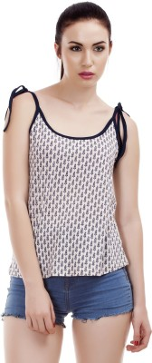 Dracht Casual Sleeveless Printed Women's White Top
