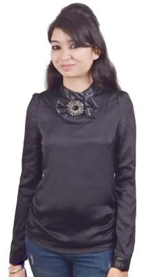 EEIA Party Full Sleeve Solid Women's Black Top