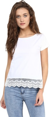 Miss Chase Casual Cap sleeve Solid Women's White Top