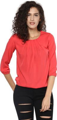 Harpa Casual 3/4th Sleeve Solid Women's Orange Top at flipkart