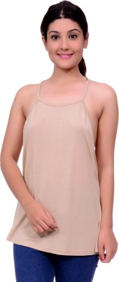 Lamora Casual Sleeveless Solid Women's Beige Top