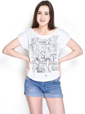 The Glu Affair Casual Short Sleeve Printed Women's White Top