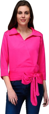 Natty India Casual 3/4 Sleeve Solid Women's Pink Top