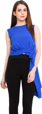 Ridress Casual Sleeveless Solid Women's Blue Top
