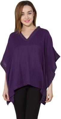 Vasstram Casual Butterfly Sleeve Striped Women's Purple Top