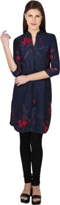 Dessara Casual 3/4 Sleeve Floral Print Women's Blue Top