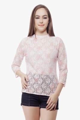Miss Queen Casual 3/4 Sleeve Solid Women's White, Pink Top
