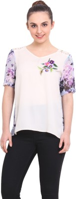 RSVP Cross Casual Short Sleeve Floral Print Women's White Top
