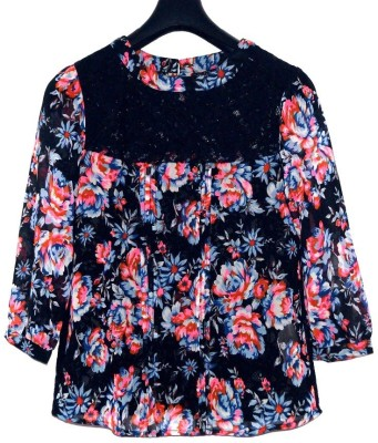 Steal Dee Style Casual 3/4 Sleeve Printed Women's Black Top