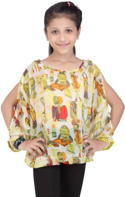 Life by Shoppers Stop Casual Full Sleeve Self Design Girl's Yellow Top