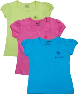 Hunch Casual Short Sleeve Solid Girl's Multicolor Top