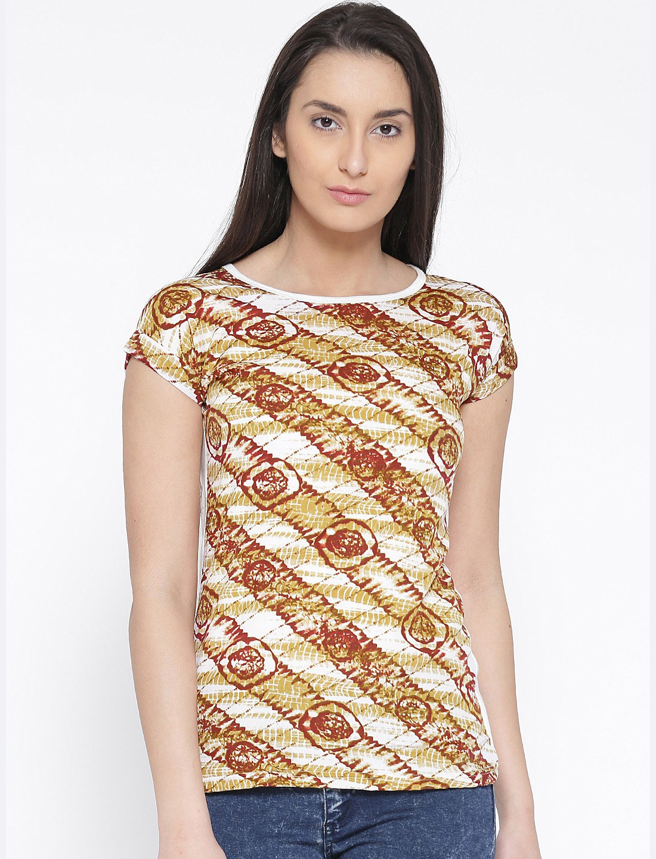 U&F Casual Short Sleeve Graphic Print Womens Beige, Brown, White Top