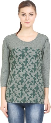 Wear Berry Party 3/4 Sleeve Printed Women's Green Top