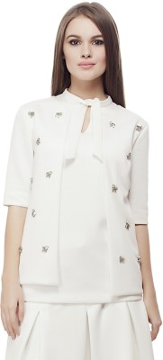Elegn Casual, Party Short Sleeve Solid, Embellished Women's White Top