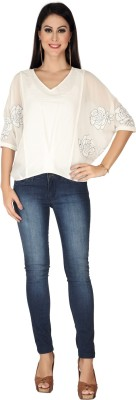 SOIE Casual 3/4 Sleeve Solid Women's White Top