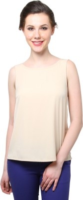 Moderno Party Sleeveless Solid Women's Beige Top
