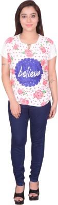 RIWAZ Casual Short Sleeve Printed Women's Multicolor Top