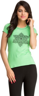 Private Lives Casual Short Sleeve Printed Women's Green Top