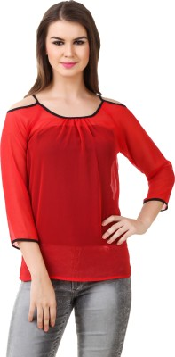 Big Pout Casual, Party, Festive, Beach Wear 3/4 Sleeve Self Design Women's Red Top
