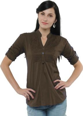 U&F Casual 3/4 Sleeve Solid Women's Brown Top