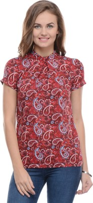 Moderno Casual Short Sleeve Printed Women's Red Top