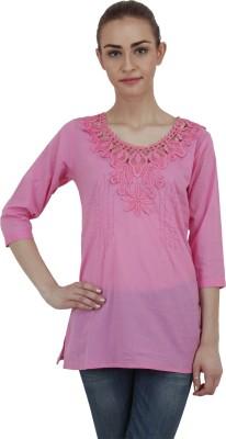 Hapuka Casual 3/4 Sleeve Solid Women's Pink Top